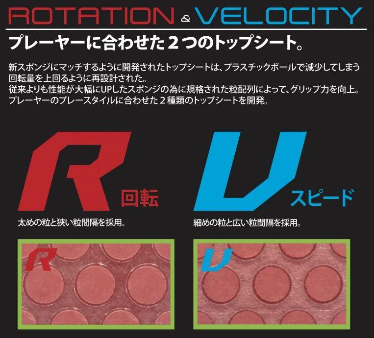RとVの粒の違い、トップシートの形状